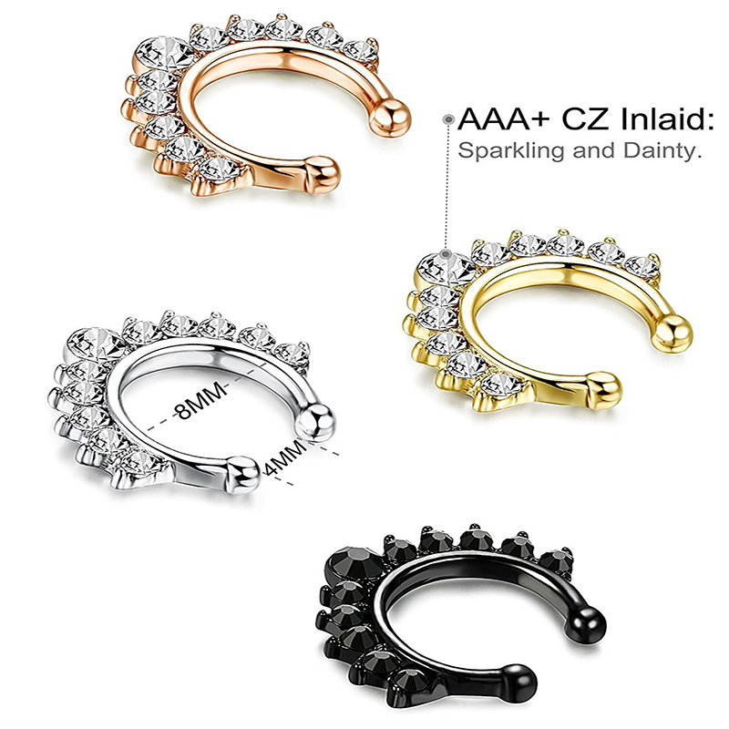 Qevila Crystal Fashion Clicker Fake Septum for Women Body Clip Hoop Vintage Fake Nose Ring Faux Piercing Body Jewelry Wholesale (4)