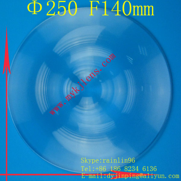 Fresnel Lens Diameter 250 mm Focal length 140mm, magnify lens ,traffic light stage light LED light fresnel lens free shipping