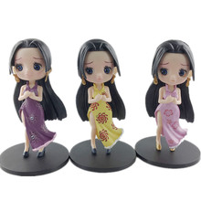 3pcs Q Posket Boa Hancock Figure Toy One Piece Version Collectible Model Dolls Car Decoration 14cm