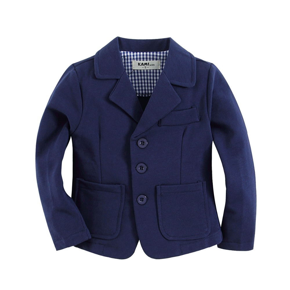 new arrival bawełna z dzianiny 100% Toddler boy blazer solid Dark Blue