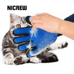 Nicrew cat grooming luva de lã luva para gatos Pet Deshedding Pente Escova de Cabelo Luva Para Animais de Estimação Cão De Limpeza Luva de Massagem para Animais