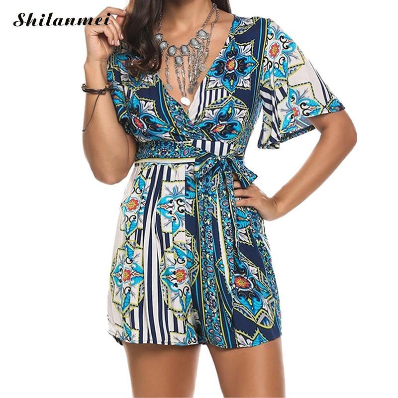 2018 Fashion Floral Print Sexy Rompers Women deep V Jumpsuit Casual Beach Summer Playsuit Leisure Elegant Ladies Short Jumpsuit