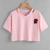 UIDEAZONE Merry New Summer Harajuku Cute Women T Shirt Rose Embroidery Cotton Crop Top Casual T
