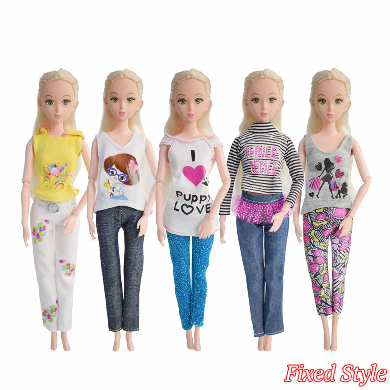 5 Pcs Barbie Doll Clothes Dress Handmade Outfit Fashion Beautiful Dolls Suit  Accessories Barbie Doll Girl Gift Kid Toys nk 5 pcs lot new doll accessories lifestyle suit slim evening dress clothes for barbie doll festival gift for girl