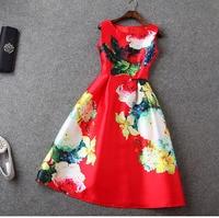 European 2015 Spring Women S Brand Fashion Floral Print Plus Size Cute Sleeveless Mid Calf Dresses