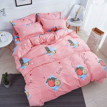 3/4Pcs/Set 100% Cotton Pineapple Orange Duvet Cover Kids Bedding Set Children Student Dormitory Bed Linings Linen Home Textile(China)