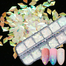 12 Designs Dazzling Clear Glitter Nail Sequins Holographic Heart/Triangle/Round DIY Paillette Box Nail Sticker Decor Tips TRHW-1
