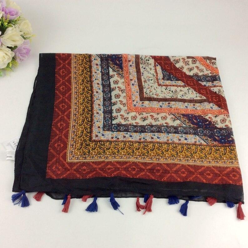 Mix Design Order Geometric Print Red Scarf 2016 Viscose Tassels Scarf  Shawls and Hijabs  Muslim Hijab Scarf Women Pashmina E4-6
