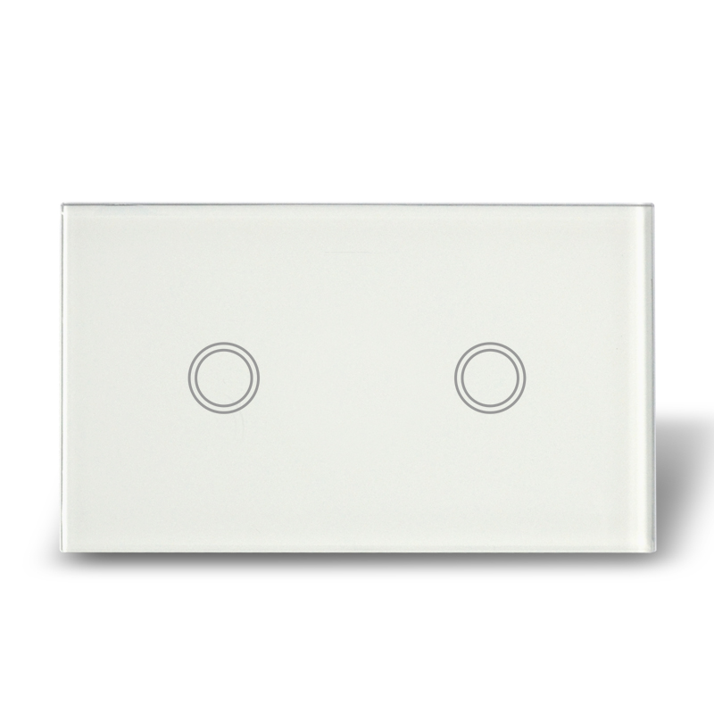 New Plain White 2 Gang 1 Way Crystal Glass Touch Light Switch--- US/AU Model smart home us au wall touch switch white crystal glass panel 1 gang 1 way power light wall touch switch used for led waterproof
