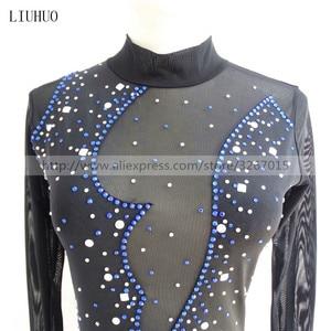 Image 2 - Robe de patinage artistique, manches longues, robe de patinage sur glace pour femmes, en Spandex noir, extensible, paillettes