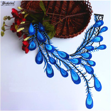 YACKALASI 3D Flower Patches Embroidery Appliqued Peacock Tail Sewing Or Iron On Floral Trims 27.5*37.5cm