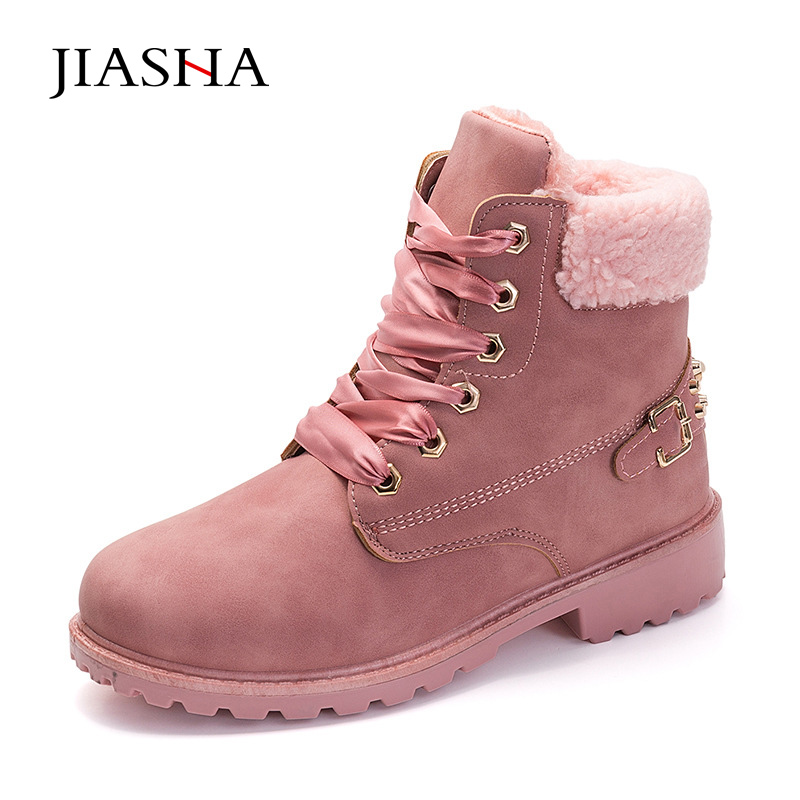 Women boots 2018 fashion warm plus velvet ankle boots women shoes round toe female winter snow boots цены онлайн