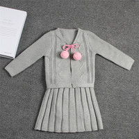 2018 Fashion Baby Girls Knitted Suit Children Clothing Set 2pcs Cardigan Sweater+Suspender Pleated Skirt Princess Girls Outfit