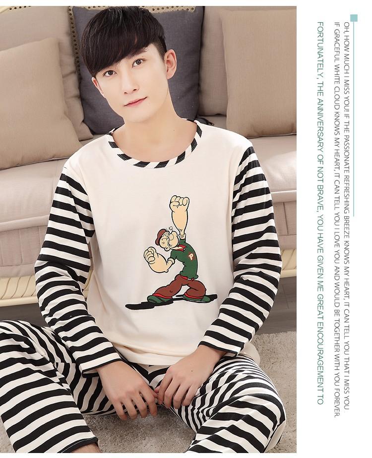 daddc1eb28 Conjunto de pijamas de 2018 pares de primavera y otoño Casual de manga  larga a rayas de algodón para el hogar-5105USD 29.99 set