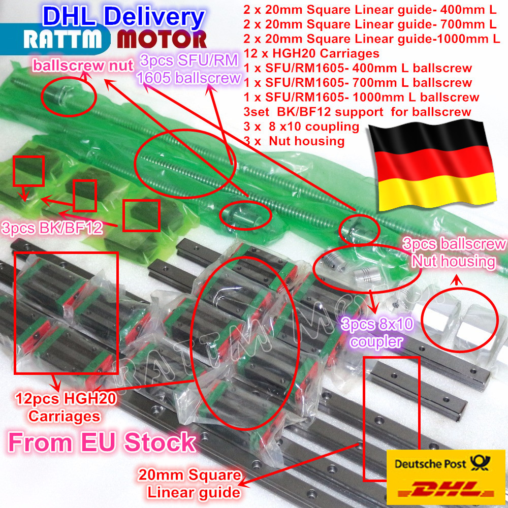 3 комплекта площадь линейная направляющая комплекты L-400/700/1000 мм и 3 шт. Ballscrew 1605-400/700/1000 мм с гайкой и 3 компл. BK/B12 и муфтой для ЧПУ