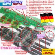 3 комплекта площадь линейная направляющая комплекты L-400/700/1000mm & 3 шт Ballscrew 1605-400/700/1000 мм с гайкой и 3 набор BK/B12 и муфтой для ЧПУ