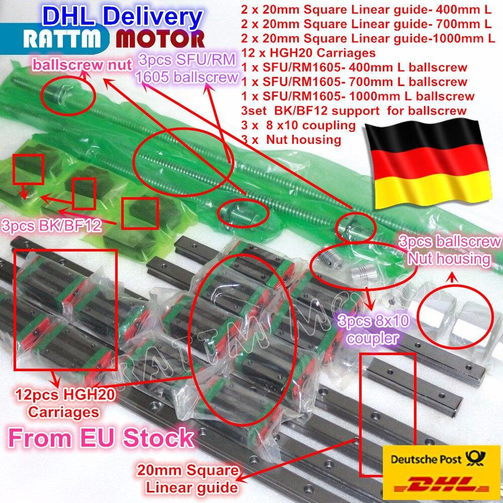 Conjuntos de guia Linear Quadrado define L-400 3/700/1000mm & 3 pcs Ballscrew 1605-400/ 700/1000mm com Porca & 3 conjunto BK/B12 & Acoplamento para CNC