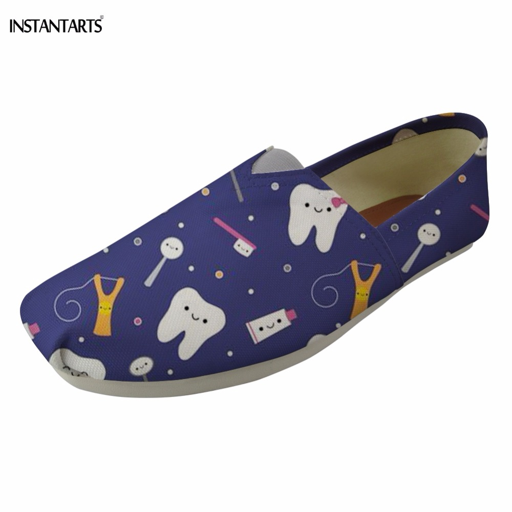 INSTANTARTS Fashion Summer Lazy Cloth Shoes for Teenage Girls Funny Dental Equipment Print Students Flats Shoes Slip On Footwear
