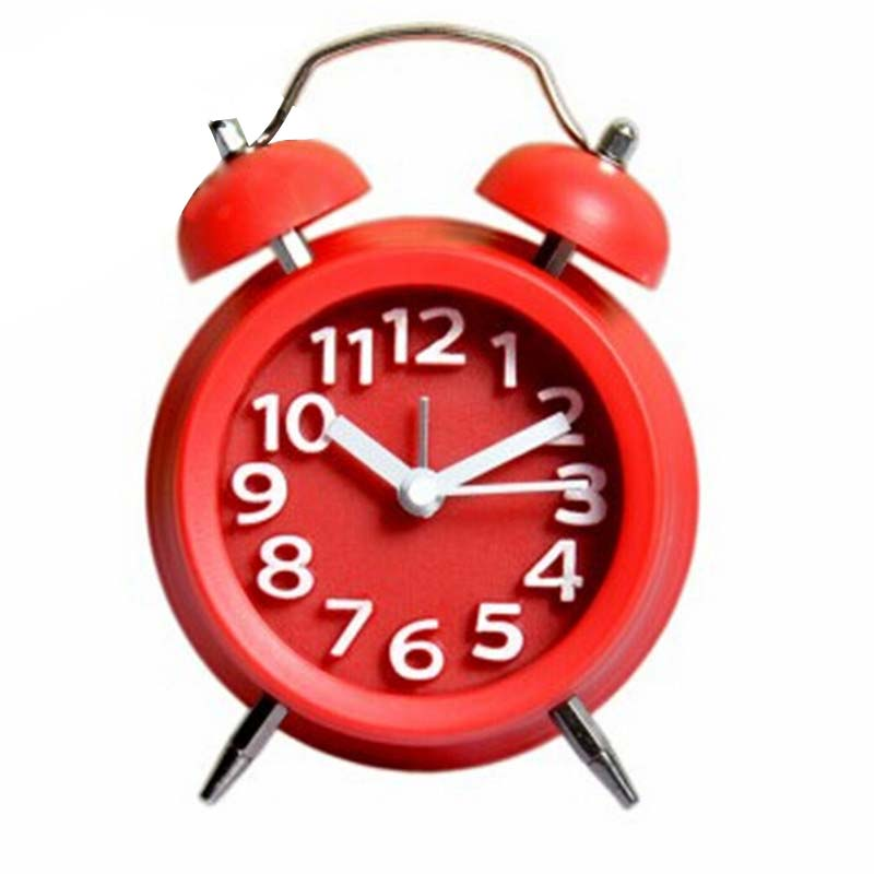 Vintage Alarm Clock DIY Kids Small Double-Bell Night Light Children Bedside Desk Table Clock Home Decoration 2017ing