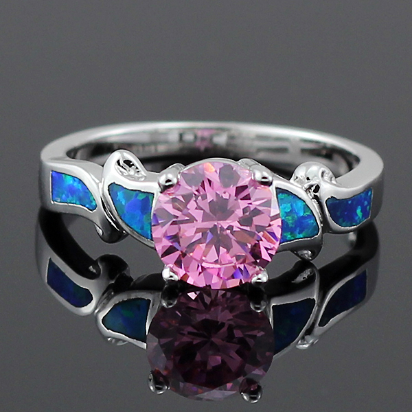 Free Gift Box Hot Sale Blue Fire Opal Pink Stone For Women Claw ...