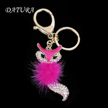 14 colors  Fashion rhinestone  Cut  Fox  pendant quality chic Car key chain ring holder Jewelry  for women.