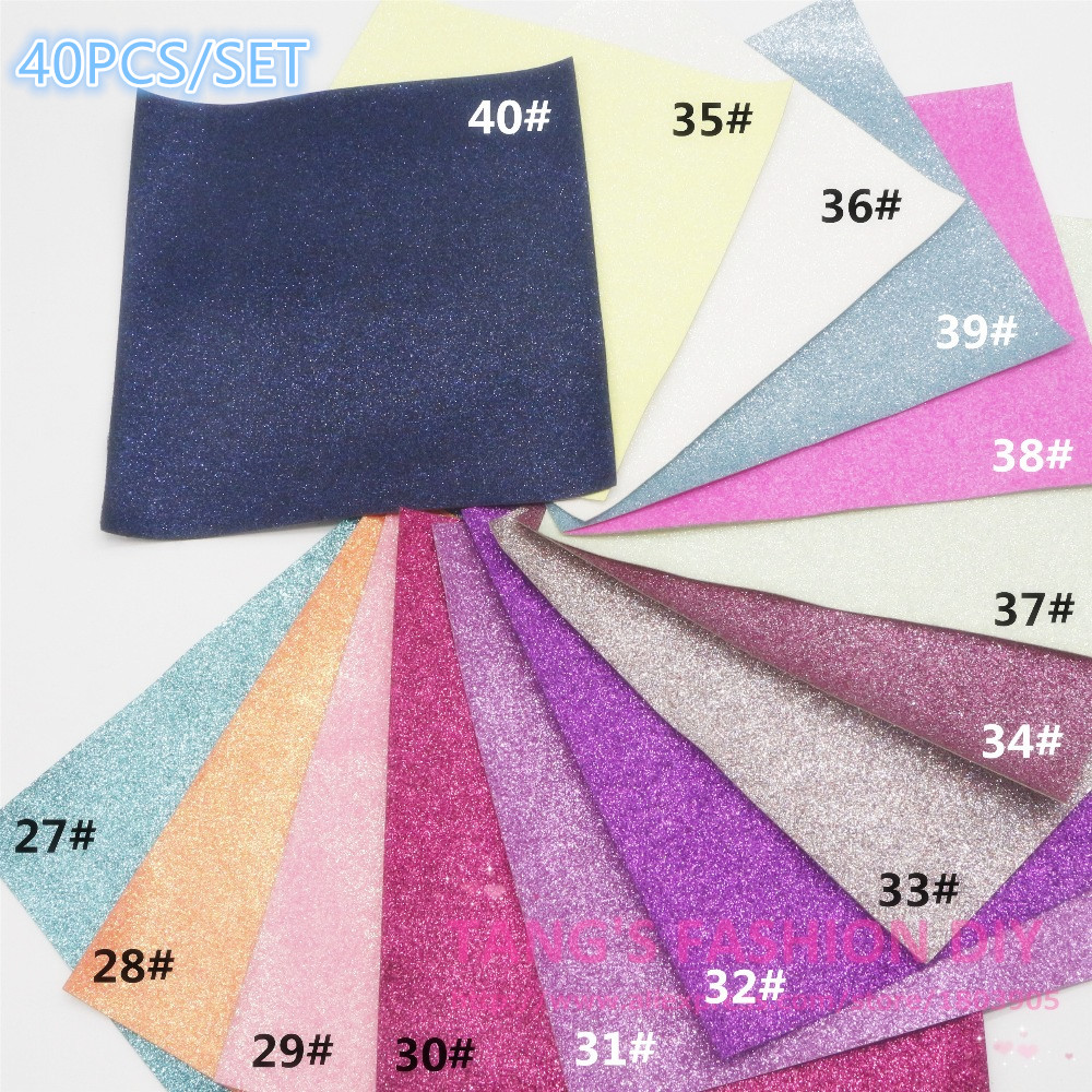 60PCS 20X22CM PER PCS DIY High Quality Glitter Leather synthetic leather Fabric artificial leather