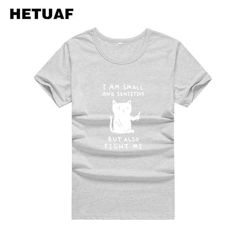 HETUAF 나는 작은 민감하지만 나에게 싸우다 재미 있은 T 셔츠 여성 Kawaii 하라주쿠 티 셔츠 Femme Ulzzang Printed Tshirt Women