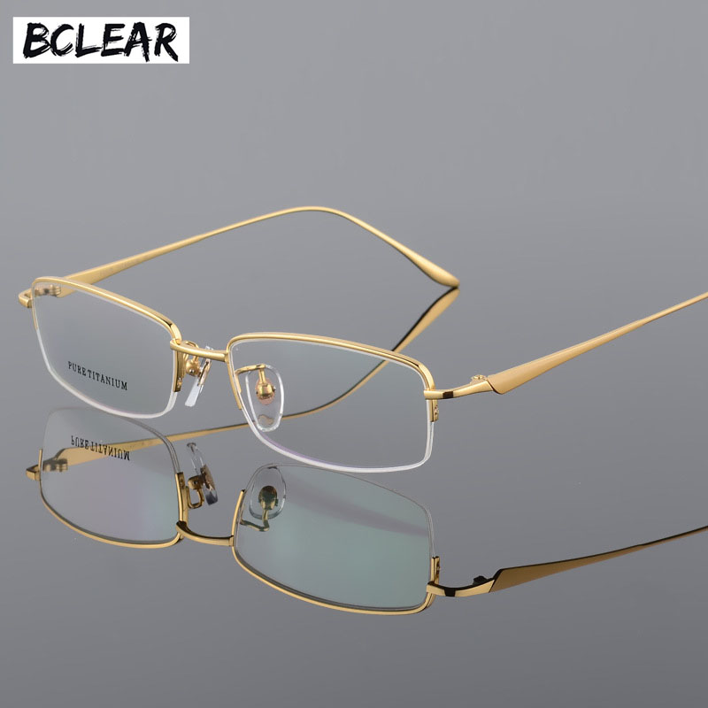 BCLEAR Best Quality 100% Pure Titanium Half Rim Eyeglasses Prescription Frame Black Gray Gold Silver Men Women Optical Eyewear