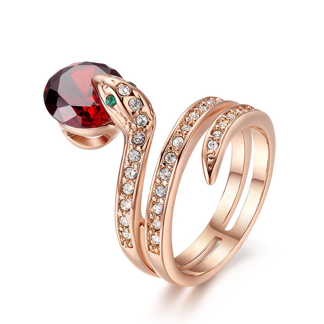 2018 Fashion Jewelry Top Quality Rose Gold Austrian Crystal Snake Ring Anillos Mujer Animal Cubic Zirconia Love Rings For Women