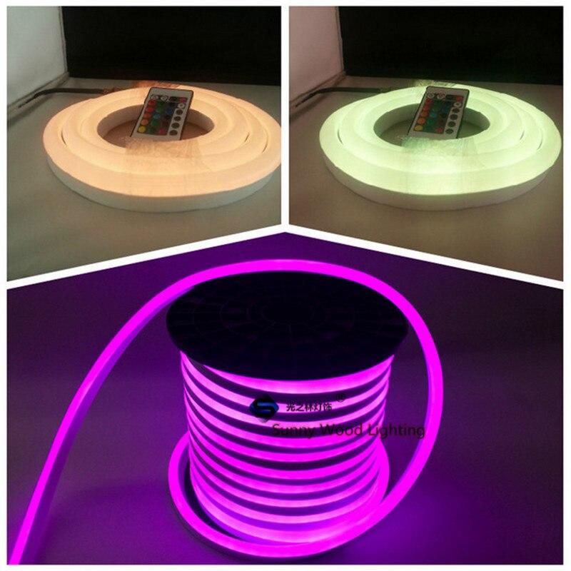 Color Changing Tape Light: 200 240VAC 10m/roll Remote Control RGB Mini Neon Flex Tube