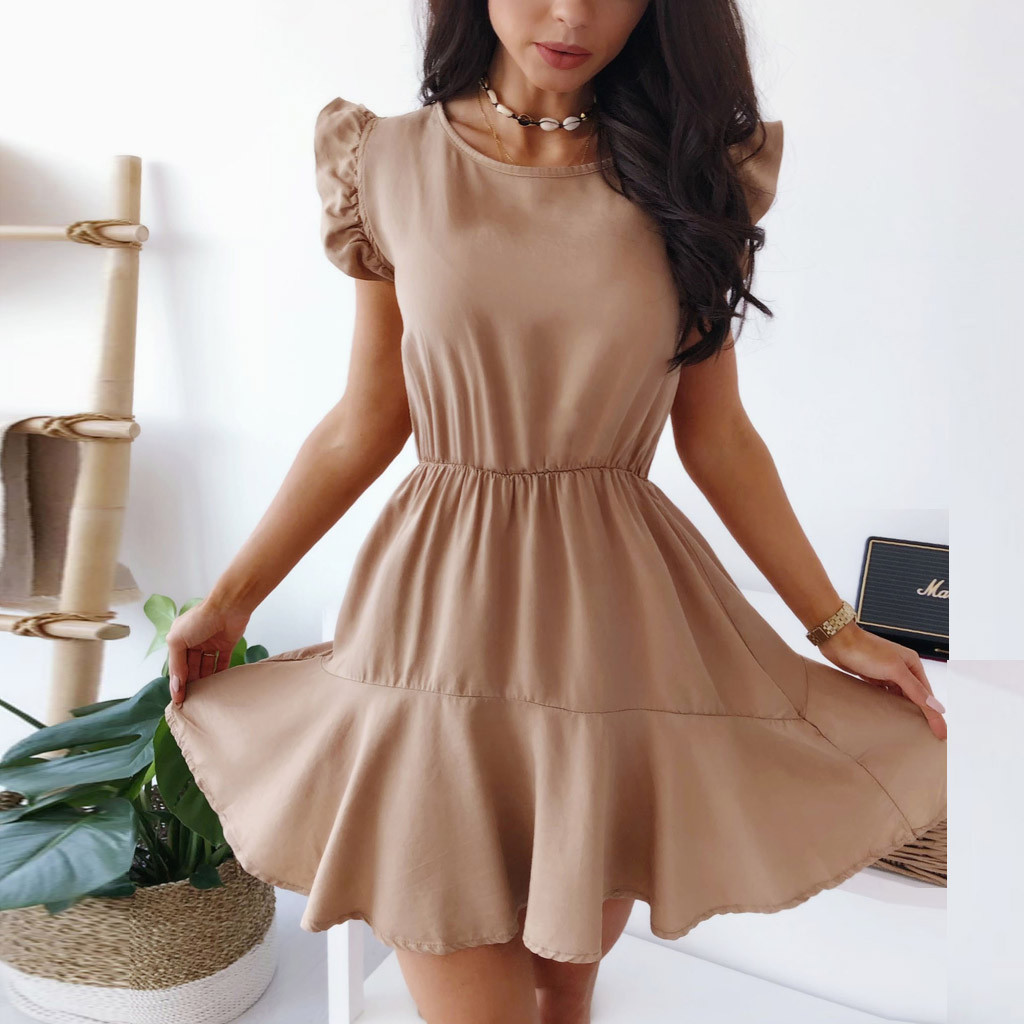 Feitong vestidos Elegant Party Dress Women Casual Solid Ruffles Butterfly Sleeve O-Neck Mini Waist Office Dress vestido mujer