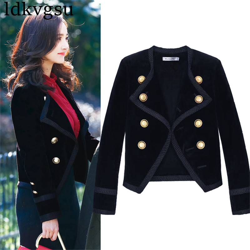 Runway Women Notched Collar Short Jacket Coat Autumn Winter Double Breasted Blazer Suit Female Velvet Black Slim Outwear A1343