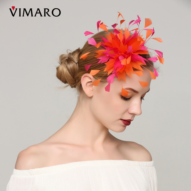 VIMARO Elegant Orange Feather Wedding Fascinator Wedding Hair Accessories  For Women Hair Jewelry Hair Combs Gift 32aced124d5