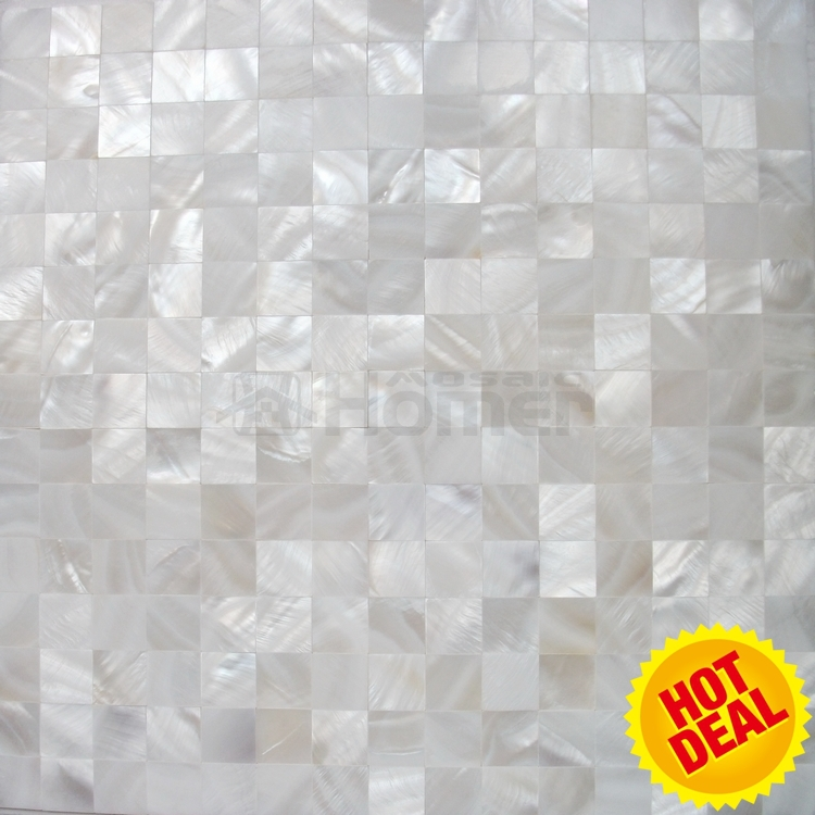 Seamless Groutless Pure White Mother Of Pearl Mosaic Mesh