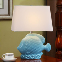 Modern Romantic Creative Blue Ceramic Fish Fabric Led E27 Table Lamp For Children 39 S Room