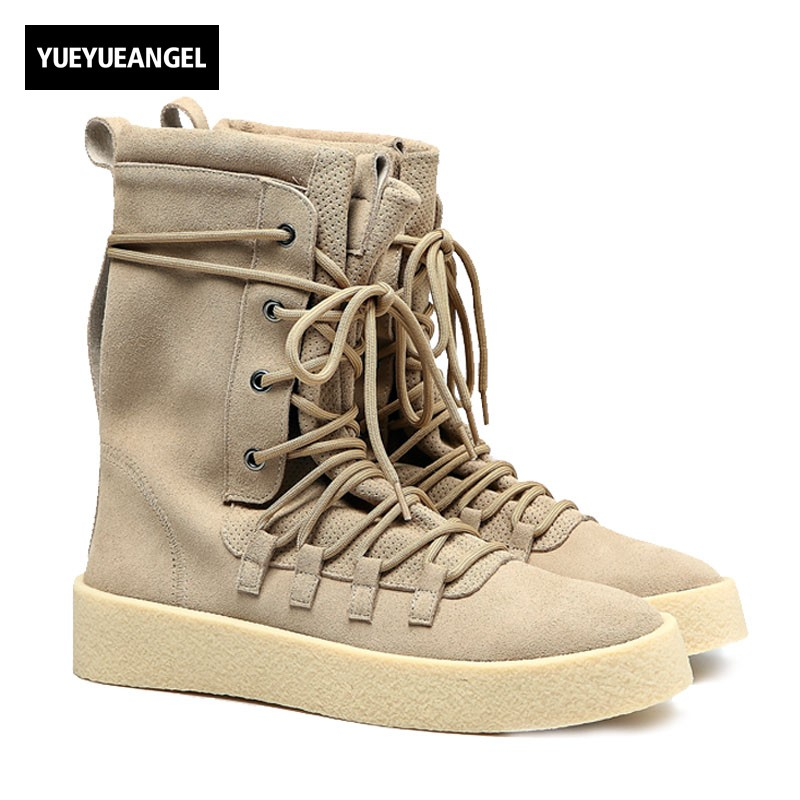 Euro New Fashion Men High Top Lace Up Desert Boot Motor Biker Genuine Leather Army Military Boots Thick Platform Martin Shoes men s desert military boots touch guy cow suede genuine leather ankle martin boot