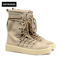 Euro New Fashion Men High Top Lace Up Desert Boot Motor Biker Genuine Leather Army Military Boots Thick Platform Martin Shoes