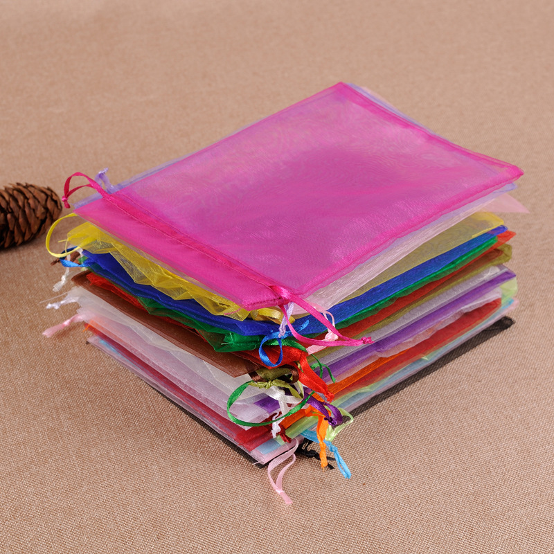 Hurry Up !!! 50pcs/lot 11x16cm Mixed Color Organza Bags Christmas Wedding Favor Gift Bags Tulle Jewelry Candy Pouches Cheap Sale