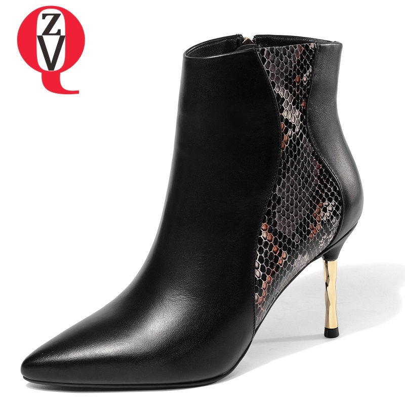 ZVQ women shoes 2018 newest fashion sexy mixed colors genuine leather high thin heels pointed toe zipper winter warm ankle boots все цены