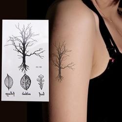 Original Design Tree Leave Fake Tattoo Waterproof Temporary Arm Fake Tatoo Stickers For Women Men Body Art Black Tattoos