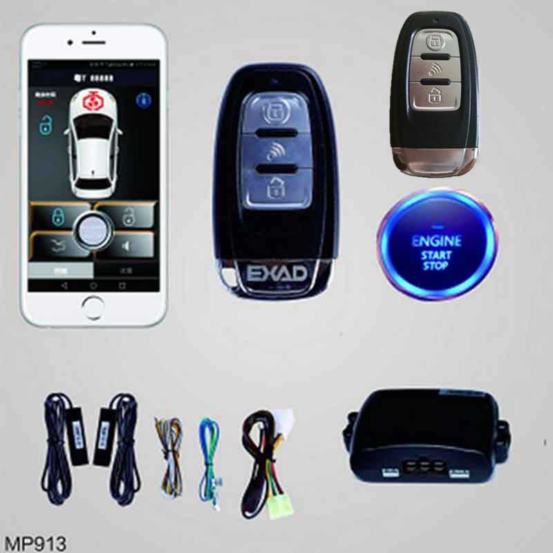 Keyless Entry Remote Start For Car Car Alarm System Smartphone APP PKE Start Stop Button With 2 Remote Control Central Locking