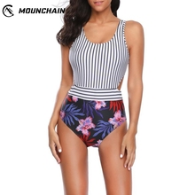 Women Fashion Sexy One Piece Swimsuit Striped and Flower Printed Beach Dress Slim Printing  Bikini