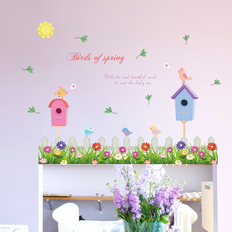 Home Decor Colorful Flowers Green Grass Birds cage Fence Baseboard Wall Stickers Bedroom Glass Window Skirting Line pvc Decals