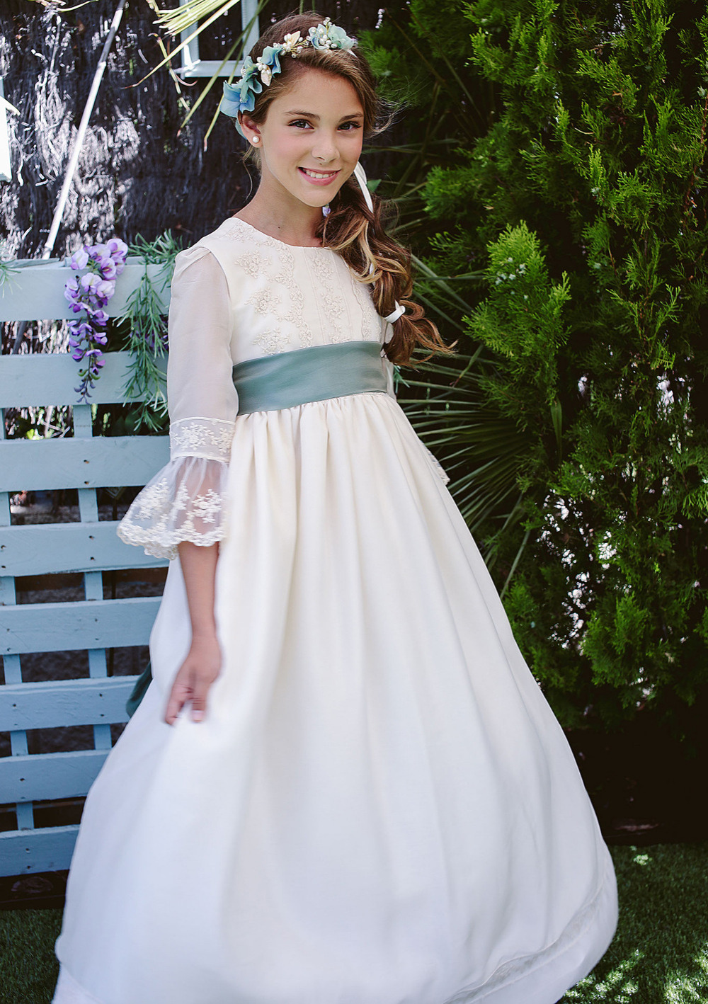 Appliques Flower Girl Dresses with Long Tailing A-Line Kids Girl Pageant Dress for Long Sleeve Tulle Mother Daughter Dresses long sleeve flower girl dresslace leotard tulle tutu family matching clothes ivory a line mother daughter dresses