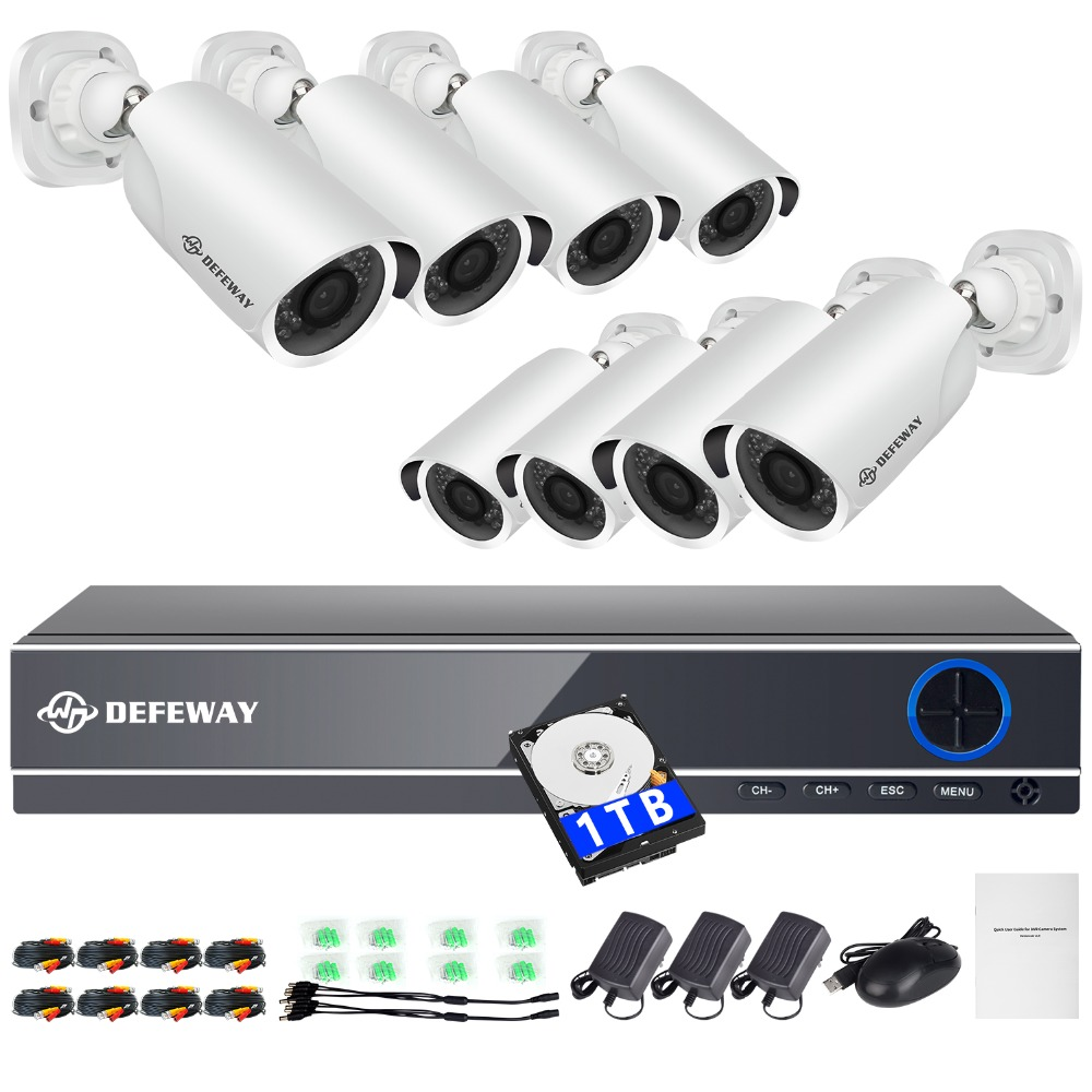 DEFEWAY 8CH 1080 P Sistema de Câmeras de Segurança Kit com 8 Pcs 1 2.0MP Day Night Vision CCTV Câmeras De Vigilância Por Vídeo TB 2018 Nova