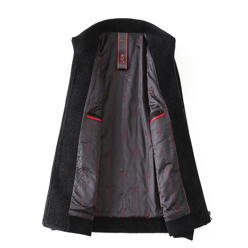 Casual Wool Warm Jacket Men Winter 2018 Long Sleeve Zipper Plus Size Coat Windbreaker Black Men's Fashion Fleece Slim Jacket - 2