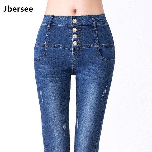 84bc71281d5c6 Jbersee Демисезонный джинсы для Для женщин Зауженные стрейч женские брюки  карандаш Высокая Талия потертые пуш ап плюс Размеры