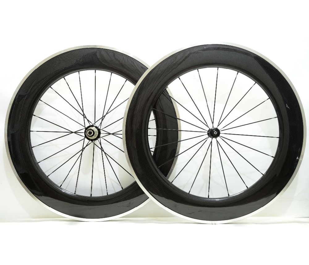Free shipping by EMS 700C Alloy brake surface Road carbon wheels 88mm depth 23mm width bicycle carbon wheelset 3K Glossy finish цены онлайн