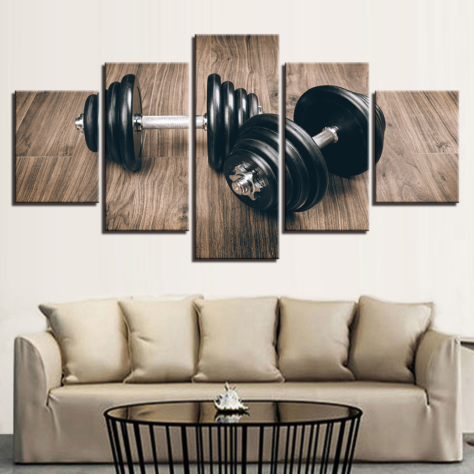 Wall Art HD Prints Pictures Home Decor Posters On Canvas 5 Pieces Fitness Gym Sports Dumbbells Paintings Living Room Framework