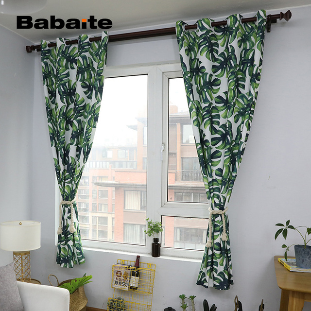 Charmant Babaite Nordic Green Leaves Stylish Curtain Modern Printing Home Decoration  Curtains For The Living Room Bedroom